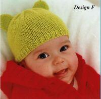 Hats for tiny baby, prem, newborn 0-3, 3-6, 6-12 months knitting pattern DK.
