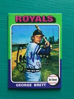 1975 Topps GEORGE BRETT Royals REPRINT Autographed Baseball Rookie Card #228