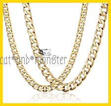 24K YELLOW GOLD GF FLAT RING CURB CHAIN WOMENS MENS SOLID 8MM 16-30INCH NECKLACE