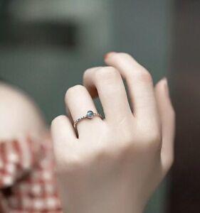 Ring, 925 Silber, verstellbar, rund, Regenbogen Mondstein, Kugel, filigran, NEU