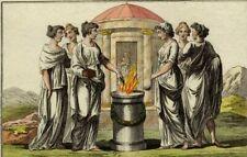 Antiquité Costume Rome Sacrifice Vestales romaine Gravure aquarelle Spallart