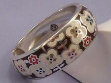 Brighton POLLY Flower Enamel Hinged Silver Bracelet Bangle *CLEARANCE SALE*