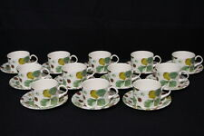 24pc Royal Stafford WILDBERRY Strawberry Motif Flat Cup & Saucer Set, England