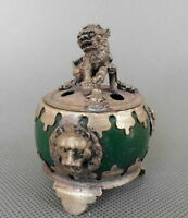 CHINA HANDWORK SILVER COPPER INLAID JADE CARVE LION AUSPICIOUS INCENSE BURNER
