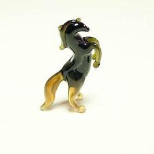 Tiny figurine Horse black glass Murano Dollhouse miniature Rear-Up Steed. VIDEO