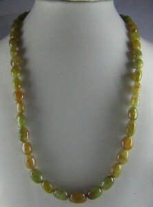 221Ct NATURAL EMERALD OVAL SHAPE CABOCHON BEADS NECKLACE / STRAND