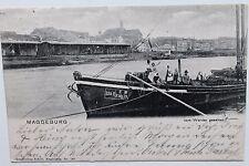 27520 AK Magdeburg Hafen Gelände Schuppen Schiff  1903