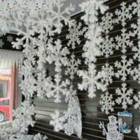 Winter Snowflakes Hanging Xmas Window Christmas Tree Festival Party Decors Set