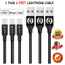 3 Pack 6FT Lightning Cable For Apple iPhone X XS 11 iPhone 8 7 6S 5 Charger Cord