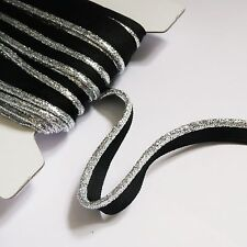 flanged insert piping cord - Silver & Gold Metallic lurex on black or white tape