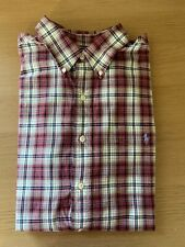 GENUINE Ralph Lauren Striped Shirt Custom Fit XL Mens Red 100% Cotton