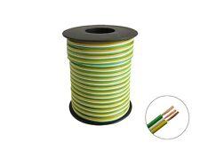 25m Triple Strand Verde Blanco Amarillo 3x 0,14mm ² tres hilos cable trenzado