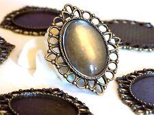 support pendentif décoré couleur bronze + cabochon en verre 25 x 18 mm