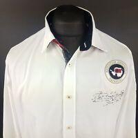 Napapijri Mens Vintage Shirt MEDIUM Long Sleeve White Regular Fit  Cotton