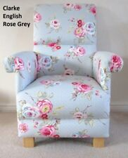 Clarke English Rose Grey Fabric Chair Armchair Floral Shabby Chic Pink Spotty