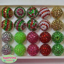 20mm Bubblegum Beads 20 CHRISTMAS MIX  Rhinestone Beads Chunky Jewelry Necklace