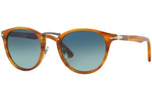Authentic PERSOL PO3108S Sunglasses Striped Brown/Blue Polarized *NEW* 49mm