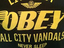 T-SHIRT  M 100% Cotton BLACK- OBEY ALL CITY VANDALS NEVER SLEEPe