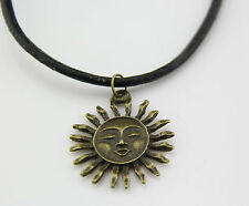 free Stunning copper sun Pendant Charm Necklace with Genuine Leather Cord 20inch
