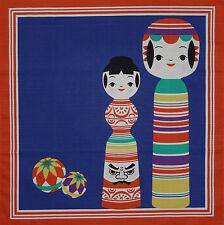 Furoshiki Wrap Cloth Japanese 'Temari Balls & Kokeshi Dolls' Fabric Cotton 50cm