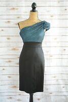 Maggy London - Black TEAL crinkle top ONE-shouldered sheath cocktail dress sz 2