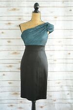 Maggy London - Black TEAL crinkle top ONE-shouldered sheath cocktail dress sz 2