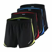 poriff Mens 2 in 1 Running Shorts Quick Dry Gym Workout Shorts 7 Compression/Sport Short Pants with Zipper Pockets
