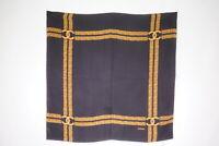 CHANEL 84 cm Vintage Large Scarf 100% Silk Coco Mark Chain Shawl Black 2440k