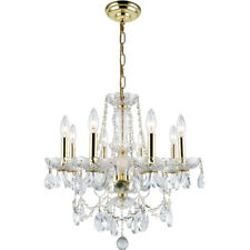 CRYSTAL CHANDELIER GOLD DINING ROOM BEDROOM CEILING LIGHTING FIXTURE 8 LIGHT 20""