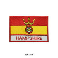 HAMPSHIRE County Flag With Name Embroidered Patch Iron on Sew On Badge