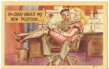 Original 1930s-50s Semi Nude Pinup Linen PC- Comic- Blond Secretary- Boss- Legs