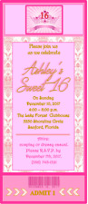 10 Sweet 16 VIP Damask Pink Crown Princess Birthday Party Ticket Invitations