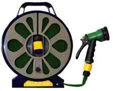 15M 50FT FLAT HOSE PIPE REEL WITH SPRAY NOZZLE GUN GARDEN OUTDOOR WATERING