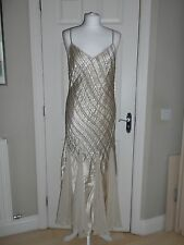Champagne Coloured 100% Silk Vintage Style Beaded Evening Dress Libra Size 12