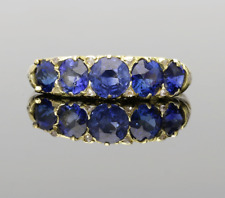 EDWARDIAN SYNTHETIC SAPPHIRE & DIAMOND GALLERY RING