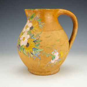 Antique Verwood Pottery - Hand Painted Flower Decorated Jug