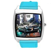 SQUARE SPORT CITY RACING BLUE REAL LEATHER WATCH FOR Mercedes Benz CAR FANS E2
