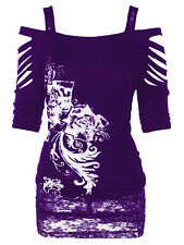 XL-5XL Women Off shoulder Punk Rock Gothic Shirt Casual Ripped Blouse Tank Tops