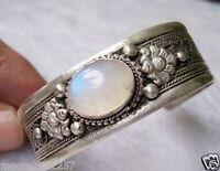 Tibet Silver White moonstone cuff Bangles Bracelets
