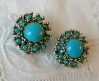 Vintage Turquoise Flower Glass Cabochon Cluster 50s 60s Clip On Earrings