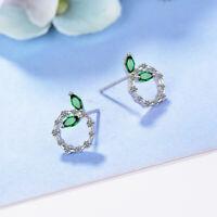 925 Sterling Silver Stud Earrings Green CZ Crystal Round Design Women Jewelry