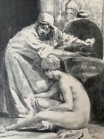 Alexandre Lunois Gravure Lithographie Orientaliste Toilette D'une Femme Turque