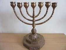 Antique Hanukkah Menorah copper finish with heavy fancy pedestal base