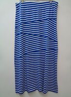Chicos 2 Blue Womens Skirt Striped Maxi Stretch Knit A Line Elastic Waist Long