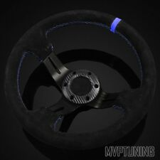 "Universal 320mm Black Alcantara Suede/Blue Stitch 3"" Deep Dish Steering Wheel"