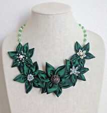 Statement Necklace Emerald Green Fabric Floral Flower Textile Handmade Crystal