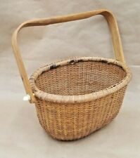 "Vintage Hand Woven Wicker Wood Handle Basket 7"" by 10"" Nantucket"