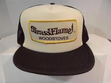 Vintage Rare BrassFlame Woodstoves Hat, Brown With Patch, Mesh Trucker Cap