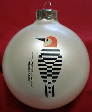 Charlie/ Charley Harper - Glass Christmas Ornament - BAFFLING BELLY - woodpecker