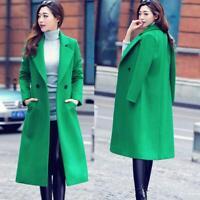 Womens Winter Double-breasted Slim Fit Woolen Trench Coat Overcoat Laple Outwear